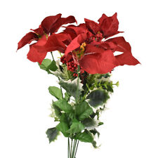 Artificial Poinsettia with Holly Spray, 18-Inch