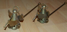 Lot of 2 VTG Roman Trumpeting Angel Brass Metal Candle Snuffers Christmas Winter