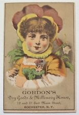 VICTORIAN TRADE CARD FANTASY Gordon's Dry Goods Millinery House, Rochester, NY