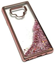 For Samsung Galaxy Note 9 - Rose Gold Chrome Pink Glitter Stars Liquid Case