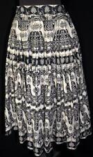 "Rare Vintage 1950'S Beige & Black Print Cotton Skirt 26"" Waist"
