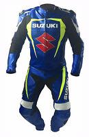 Suzuki Blue New Motorbike Racing Leather Suit Racing Motorcycle Cowhide Suit
