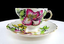 """ROSINA ENGLAND #6877/A BLACK OUTLINED PINK & YELLOW FLOWERS 2 5/8"""" CUP & SAUCER"""
