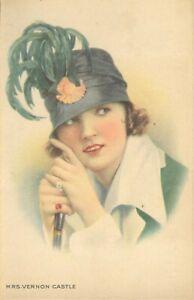 pc12731 postcard Pretty Lady Mrs. Vernon Castle Theatre Advertisement mint