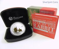 2011 YEAR OF THE RABBIT GILDED 1oz Silver Coin