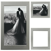 Silver Picture Frame Wood Photo Case Wall Hanging Image Mount Photograph Stand