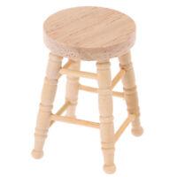 1/12 Dollhouse Miniature Wooden Stool Simulation Chair Furniture Toy Decorat YK