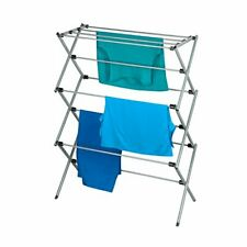 Oversize Folding Drying Laundry Clothes Storage Rack 3 Tier Metal Silver/White
