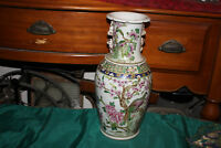 Large Chinese Ceramic Vase Painted Birds Flowers Signed Bottom Detailed #1