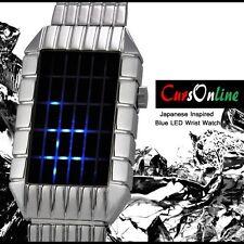 Orologio Da Polso Digitale a Led Blu Uomo Donna Unisex Bracciale Acciaio Watch