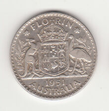 1951 Australian Silver TWO Shilling Florin 2/-(TWO BOB )KING GEORGE VI very Nice