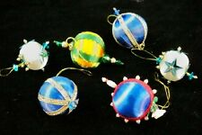 Six Vintage Hand Made Miniature Victorian Style Christmas Ornaments R8