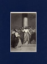 Antique matted print :  jesus and his apostles /  Gospel of John / bible / 1864