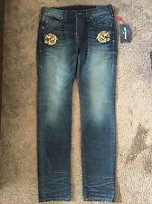 True Religion Men's Blue Cotton Skinny Fit Rocco Jeans Size 32 NWT