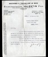 """PARIS (XIII°) USINE de MACHINES à BOIS """"VALENTIN Fils constructeur"""" en 1938"""
