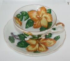 Vtg Saji Fancy China Teacup Saucer Made in Japan Yellow Flowers