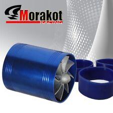 "Auto 2.5"" Tornado Turbonator Intake Dual Fan Gas Fuel Saver Supercharger Blue"
