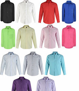 Boys Formal Shirt Wedding Christening Smart Party Casual Long Sleeve 5-15 Years