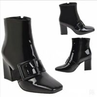 Women Square Toe Patent leather Zipper Chunky Block Heel Ankle Boots Motor Punk