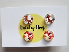Little Red Riding Hood and the big bad wolf stud earrings 14mm cabochon set