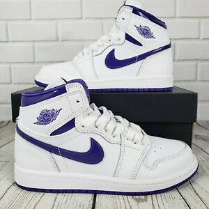 🔥 NEW Nike Air Jordan 1 Retro PS High Size 1Y Court Purple White CU0449-151 🔥