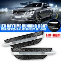 Paar LED DRL Tagfahrlicht Nebelscheinwerfer für Benz W204 C-Klasse 2011-2013 12