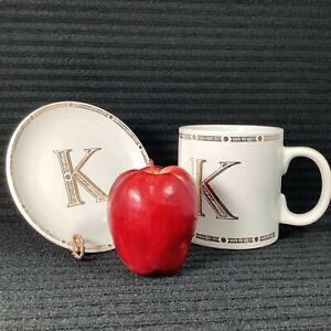 Monogrammed LETTER K Big 22-Oz Stoneware Mug & Plate by Signature w/ Golden Trim