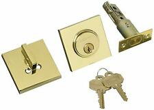 Baldwin 8220003 Contemporary Square Single Cylinder Deadbolt, Polished Brass