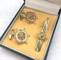 VINTAGE Damascene Cufflinks Tie Bar Clip Set Ships Wheel Nautical Gold Tone GIFT