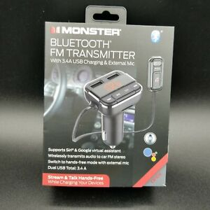 Monster Bluetooth FM Transmitter with USB Charging Adapter & Built-in Mic *New*