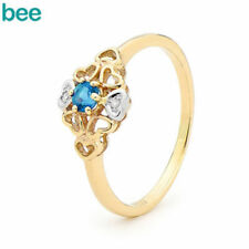 Blue Solitaire with Accents Yellow Gold Fine Rings