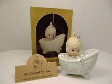 """Precious Moments ornament """"He Cleansed My Soul"""" 112380 Girl in Bathtub"""