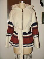VTG 70'S BOHO HIPPIE WOOL IVORY ETHNIC NATIVE SOUTHWEST HOODED JACKET COAT*S/M
