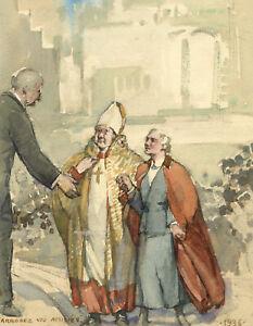 Ethel M. Mallinson, J.B. Kitson with Archbishop – 1936 watercolour painting