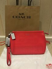 7fab4a836e Coach Leather Clutch Pouch Bag Coral Pink with adjustable strap