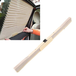 Beige Car Folding Side Window Windshield Retractable Sun Visor Shade Valance