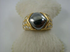 moderner Brillant - Hämatit Ring Gold 750