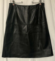 Nordstrom Signature Women's Black Soft Leather A Line Skirt Front Flap Size 14