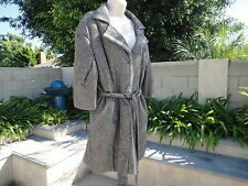 PORTS 1961 Wool /Silk Jacket/Dress Coat, Tie Belt, Grey/Tan, NWT MSRP $895