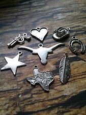 Assorted Charms Pendants Findings-Antiqued Silver-Texas Charms Western Charms