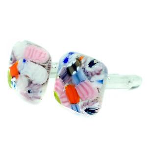 Murano Glass Cufflinks Multi Coloured Pink Square Wedding Cuff Links Venice