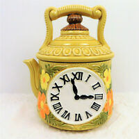 "Vintage 1950s 9.5"" Ceramic Cookie Jar w/Teapot, Floral, & Clock Face Motif/Japan"