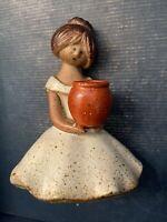 Vintage UCTCI Japan Stoneware Art Figurine Girl Ceramic Pottery Mid Century MCM