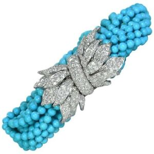 Solid 925 Sterling Silver Turquoise Beaded & Sparkly Tiny CZ Bracelet for Women
