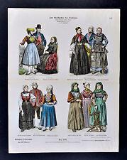 1880 Braun Costume Print N. German & Dutch Folk Dress Hamburg Hannover Friesland