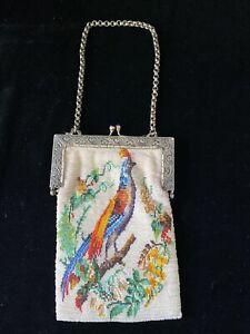 Antique Vintage Beaded Handbag Purse Bird of Paradise Metal Silver 1920s