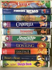Lot of 10 Vintage Disney VHS Video, Snow White, Cinderella, Beauty and the Beast