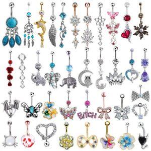 Rhinestone Dangle Body Piercing Jewelry Barbell Bar Belly Button Navel Ring
