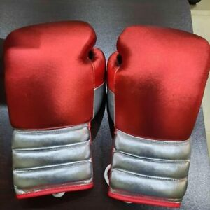 New Custom Made professional Mexican Red Silver boxing gloves, any logo or Name,