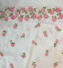 Vintage Pink Rose Border Martex Luxor Full Flat Sheet Permanent Press Percale